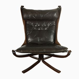 Vintage Dark Brown Highback Falcon Chair by Sigurd Resell