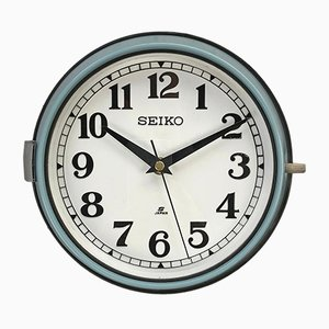 Vintage Industrial Steel Quartz Wall Clock from Seiko, 1970s