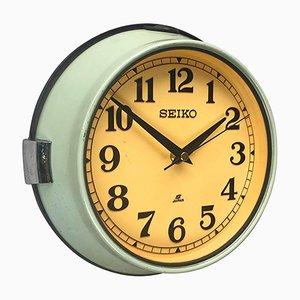 Reloj de cuarzo de pared industrial vintage de acero de Seiko, años 70
