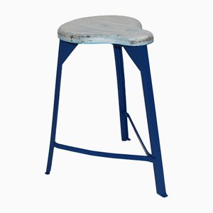 Mid-Century Industrial White and Blue Stool, 1950s
