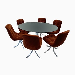 Vintage Dining Table & 6 Swivel Chairs, 1970s