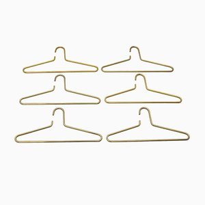 Brass Plated Coat Hangers, 1970s, Set of 6