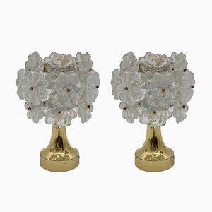 Lámparas de mesa Mid-Century con flores, años 60. Juego de 2