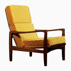 Dänischer Mid-Century Sessel aus Teak & Samt von Ib Kofod-Larsen
