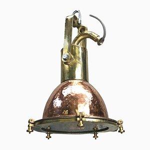 Lampe à Suspension Industrielle de la Marine Mid-Century en Cuivre, en Laiton, et en Verre, Allemagne