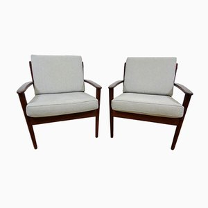 Mid-Century Lounge Chairs by Grete Jalk for Poul Jeppensen, Set of 2