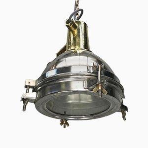 Lampe à Suspension Compacte en Acier Inoxydable, en Laiton Moulé et en Verre, Japon, 1970s