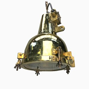 Japanese Brass Marine Nautical Searchlight Pendant Lamp, 1972