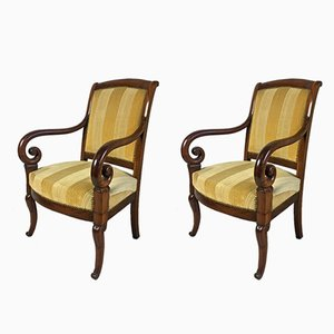 Antique Mahogany Lounge Chairs, Set of 2