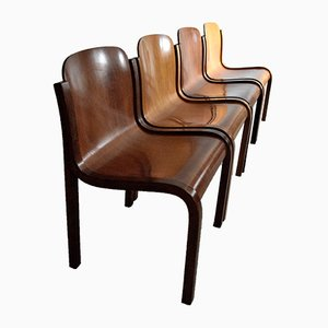Italian Mid-Century Mito Curved Plywood Chairs by Carlo Bartoli for T70, 1969, Set of 4