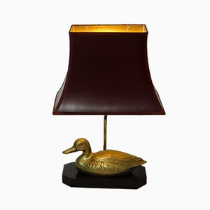 Lámpara vintage con pato dorado, años 60