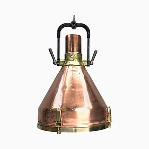 German Industrial Copper, Brass & Cast Iron Pendant from VEB, 1968