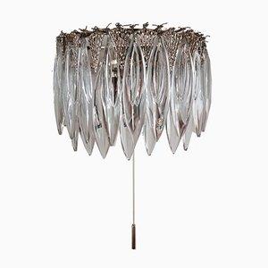 Vintage Wandlampe aus Kristallglas & Silber von Bakalowits & Söhne, 1960er