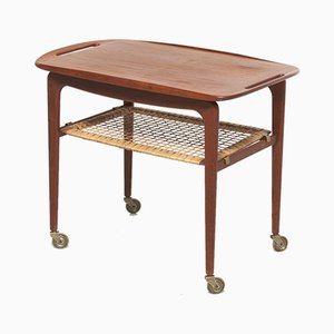 Vintage Teak & Rattan Serving Bar Cart by Johannes Andersen for CFC Silkeborg