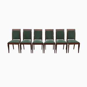 Art Deco Mahogany Chairs by Gaston Poisson, Set of 6