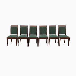 Art Deco Mahogany Chairs by Gaston Poisson, Set of 6