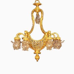 Vergoldeter Kronleuchter aus Bronze & Kristallglas, 19. Jh.
