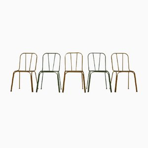 Danish Metal Bistro Chairs, 1965, Set of 5