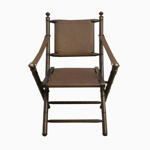 Italienischer Vintage Beistellstuhl aus Leder, 1930er