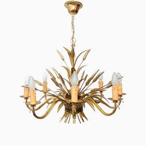 Lampada vintage in legno dorato con fascio di grano, Italia