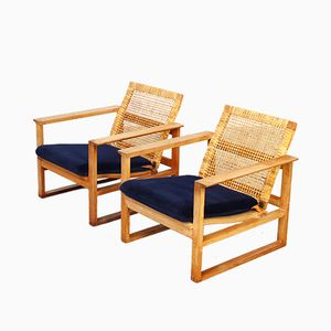 Mid-Century Danish Lounge Chairs by Børge Mogensen for Fredericia, Set of 2