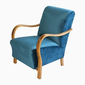 Mid-Century Blue Velvet Armchair, 1960s