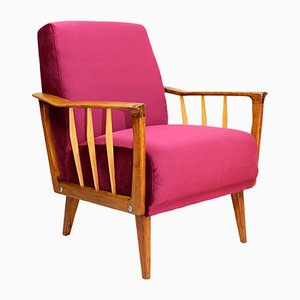 Vintage Raspberry Velvet Armchair, 1960s