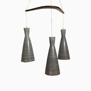 Lámpara colgante italiana moderna con pantallas en forma de diábolo de vidrio y teca, años 50