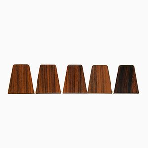 Mid-Century Bookends with Teak & Rosewood Foil, 1960s, Set of 5