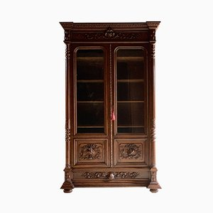 Antique French Carved Oak Display Cabinet, 1890s