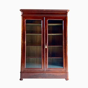 Antique French Glass & Mahogany Cabinet, 1875