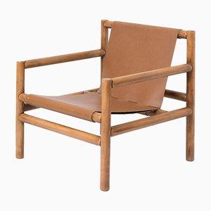 Vintage Safari Leather Chair, 1970s