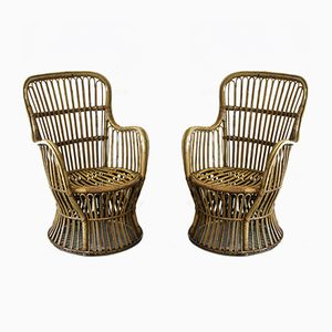 Wicker Armchairs, 1960s, Set of 2