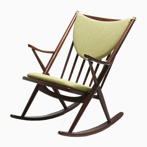 Teak Model 182 Rocking Chair with Green Cushions by Frank Reenskaug for Bramin, 1958