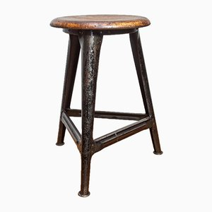 Vintage Industrial AMA Tripod Workshop Stool, 1920s