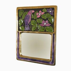 Vintage Spiegel mit Rahmen aus Keramik von François Lembo
