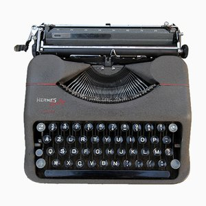 Graue Baby Schreibmaschine von Hermès, 1950er