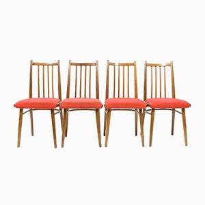 Vintage Esszimmerstühle mit rotem Sitzbezug, 1970er, 4er Set