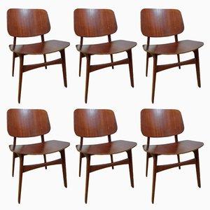 Modell 155 Stühle von Borge Mogensen für Soborg Mobelfabrik, 1950er, 6er Set