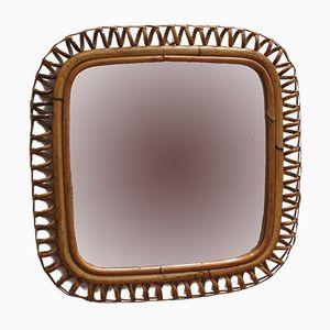 Italienischer Vintage Spiegel mit Rahmen aus Rattan, 1960er