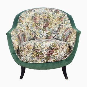 Italian Floral Lounge Chair, 1950s