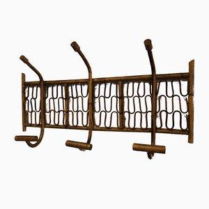 Perchero vintage de bambú y ratán, años 40