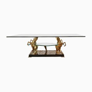 Brass & Glass Coffee Table with Horse Sculptures, 1970s