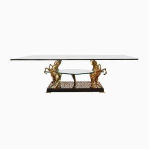 Mesa de centro de latón y vidrio con esculturas de caballos, años 70