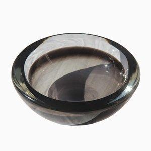 Cuenco Rotonda de cristal de Murano gris de Seguso, años 60