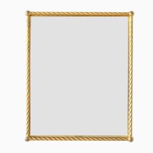 Specchio vintage in metallo dorato, anni '50