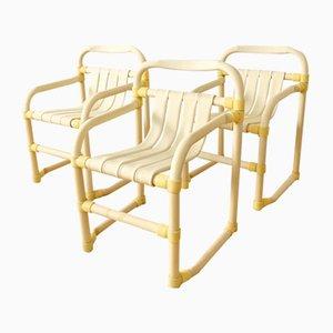 Sedie vintage in PVC a forma di bambù, anni '70, set di 3