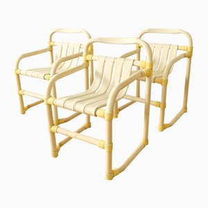 Vintage Bamboo Style PVC Armchairs, 1970s, Set of 3