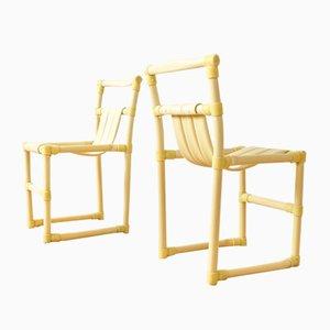 Sedie vintage in PVC a forma di bambù, anni '70, set di 2