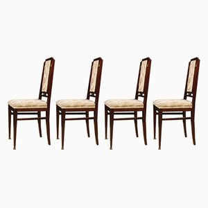 French Mahogany and Velvet Chairs, 1930s, Set of 4